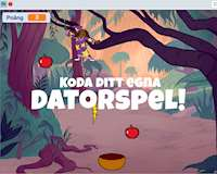 En animerad bild ur ett datorspel och texten Koda ditt egna datorspel