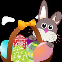 En animerad bild av en påskhare med ett korg full av färgglada ägg