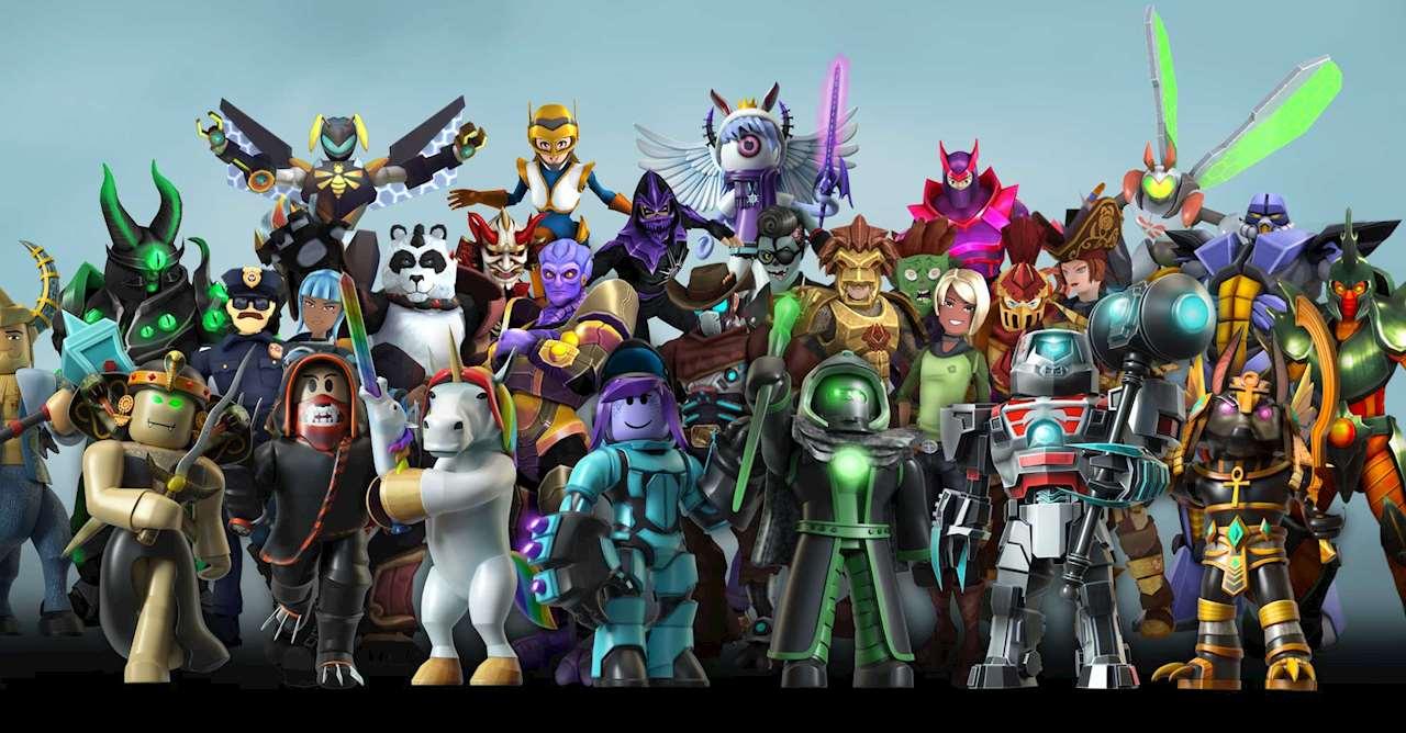 En gruppbild på figurer i Roblox