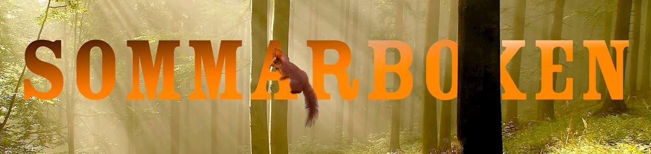 Texten Sommarboken där en ekorre hänger på bokstaven A och i bakgrunden av en skog av trästammar